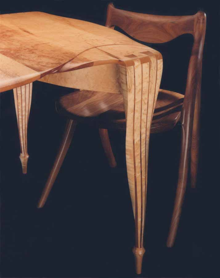 Jack harich 39 s table and chair the table is in birdseye for Furniture jack