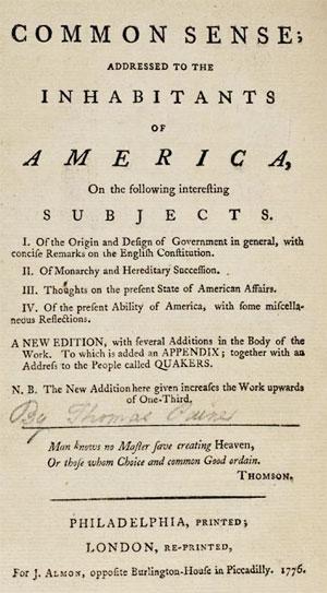 Common Sense Thomas Paine Cover
